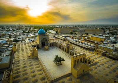 Panorama-of-Bukhara,-Uzbekistan