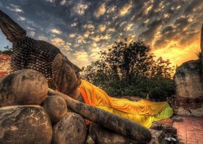 Reclining buddha at sunset