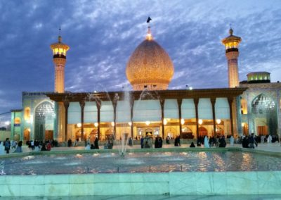 Shah-e Cheragh Shrine at dusk, Shiraz.